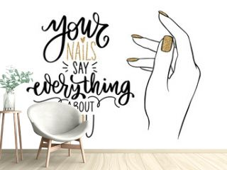 Vector Beautiful woman hands with nude nail polish. Handwritten lettering about nails.