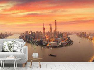 Twilight shot with the Shanghai skyline and the Huangpu river