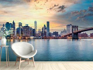 New York city sunset panorama
