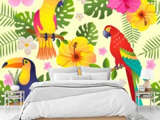 toucan and parrot sits on a flowering branch vector illustration seamless pattern
