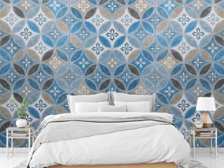 Old gray anthracite blue vintage shabby patchwork mosaic motif tiles stone concrete cement wall texture background with circle print