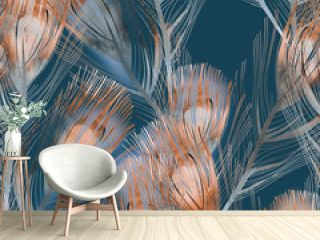 Feather Seamless Pattern. Watercolor Illustration.