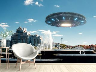 UFO spaceship in the sky. Extraterrestrial life, aliens