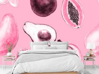 Exotic fruits and flowers seamless pattern on pink background, watercolor illustration mango, avocado, banana, papaya.