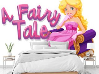 Font design for word a fairytale with beautiful princess sitting