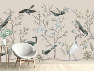 Vintage garden tree, birds, crane floral seamless border beige background. Exotic chinoiserie wallpaper.