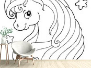 Coloring book unicorn head theme 1