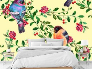 Watercolor birds with branch berry on yellow background. Seamless pattern for fabric.