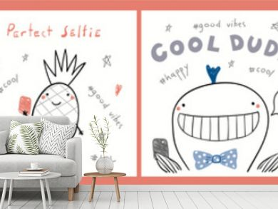Collection of cards, posters with cute funny cool hipster animals, pineapple, taking selfie, quotes. Hand drawn childish vector illustration. Line drawing. Design concept for children print.