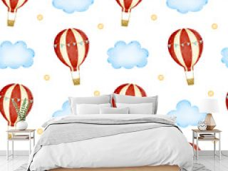 Cartoon hot air balloon with red stripes and blue flags in the sky among the clouds seamless pattern