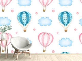 Cartoon pink and blue hot air balloons in the sky among clouds seamless pattern