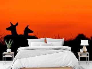 Silhouette Deer Sitting On Landscape Against Sky During Sunset