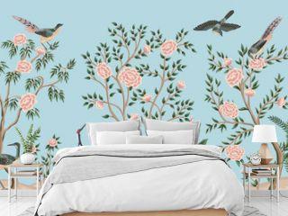 Vintage garden tree, birds, crane floral seamless border blue background. Exotic chinoiserie wallpaper.
