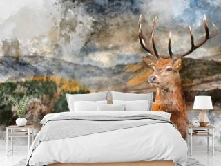 Digital watercolor painting of Majestic Autumn Fall landscape of Hawes Water with red deer stag Cervus Elpahus in foreground