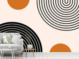 Abstract contemporary aesthetic background with geometric balance shapes, two rainbow and sun circles. Boho wall decor. Mid century modern minimalist print. Neutral Geometric art. Organic shape.