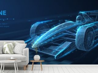 Formula One f1. Abstract vector 3d f 1 bolide rasecar on speedway. Fast motion. Finish line. Success in competition, rase winner, business win concept.