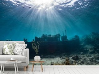 """Ship wreck """"Tugboat"""" in  shallow water of coral reef in Caribbean sea / Curacao with view to surface and sunbeam"""