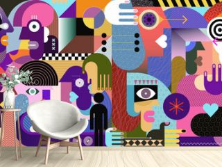 Modern abstract art graphic illustration with ten different persons. Large group of people graffiti sketch artwork.