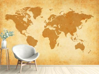 Old map of the world on a old parchment background. Vintage style