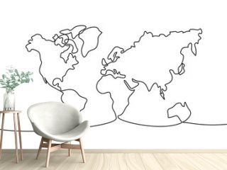 Continuous one line drawing. World map. Vector illustration.