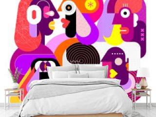 Modern abstract art portrait of six different people, vector illustration. Colorful geometric style graphic artwork isolated on a white background.