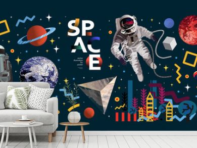 Space. Vector abstract illustrations of an astronaut, planets, galaxy, mars, future, earth and stars. Science fiction drawing for poster, cover or background