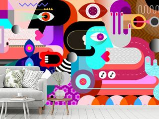 Three people and metal spheres graphic illustration. People looking in different directions. Modern abstract art.