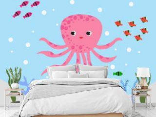 Sea Underwater World Squid Starfish illustration Vector.