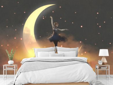 a ballerina dancing with fireflies against the crescent moon, digital art style, illustration painting