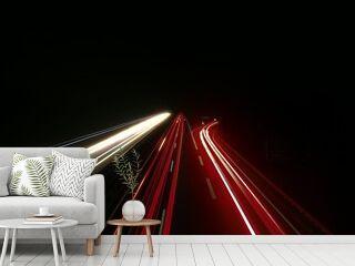 Light Trails On Highway At Night