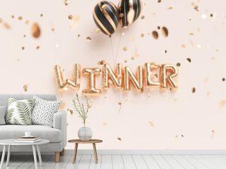 Winner sign letters with golden confetti. Banner word winner design pink background. 3d rendering