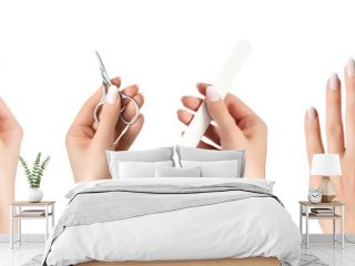 Manicure ad banner. Female hand hold manicure tools, nail polish bottle. Female hand with white nail design.
