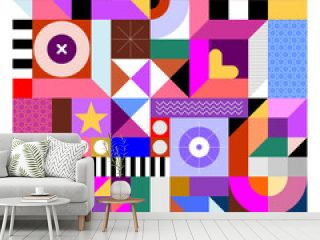 Abstract design with many different colorful geometric shapes. Vector geometry art seamless background.