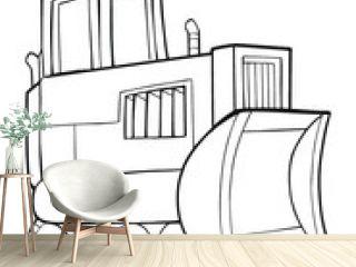 Cute Tough Construction Bulldozer Vector Illustration Art