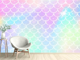 Kawaii mermaid background with princess rainbow scales pattern.