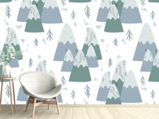 seamless pattern with christmas trees and scandinavian mountain