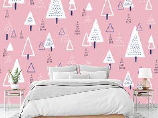 北欧風 三角形の木々 シームレスパターン