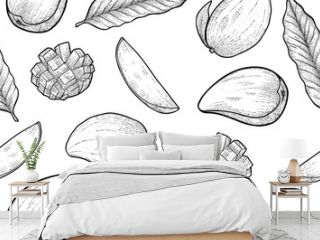 seamless pattern of mango sliced and whole, vector, engraving style
