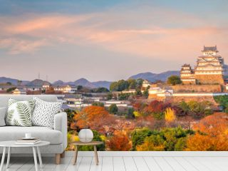 Himeji Castle in the autumn at sunset