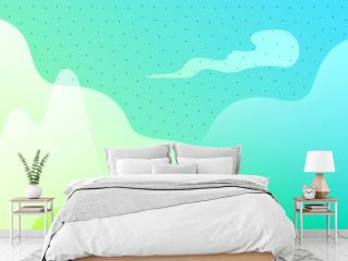 Abstract vector background with dynamic liquid shapes Mountains and clouds on bright gradient backdrop with dots