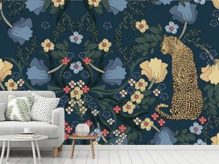 Leopard with flowers and leaves in vintage style, seamless pattern.