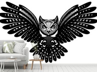 Flying owl with spread wings. Vector monochrome illustration. Template for poster design