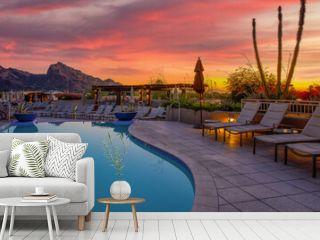 Arizona resort with pool during sunset