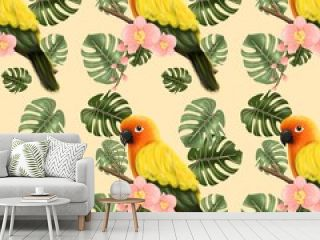 Seamless pattern with parrot, orchid and monstera leaves on cream background. Cartoon hand drawn, texture,fabric, apparel, decoration, card and postcard.