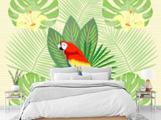 Tropical, exotic, Hawaiian floral seamless pattern with Ara Macao Parrot and with palm leaves, flowers . Vector.