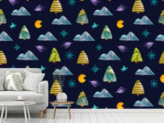 Seamless watercolor pattern of Christmas trees, mountains, crescent. Hand-drawn. for use in cover design, textile, postcard, wrapping paper, decoupage, poster, painting, textile, fabric