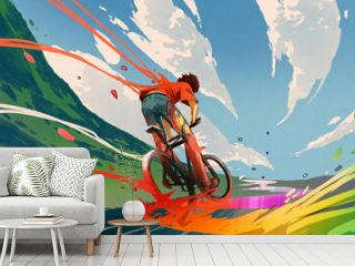 young man riding a bicycle with a colorful energy, digital art style, illustration painting