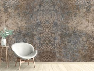 Old brown gray rusty vintage worn shabby patchwork motif tiles stone concrete cement wall texture background banner panorama