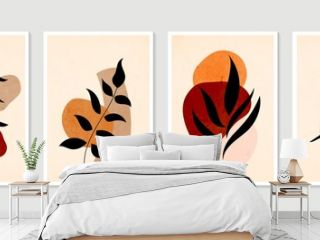 Botanical wall art vector set. Minimal and natural wall art. Boho foliage line art drawing with abstract shape. Abstract Plant Art design for print, wallpaper, cover. Modern vector illustration.