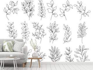 Continuous Line Drawing Set Of Flowers, Plants, Leaves Black Sketch Isolated on White Background. Flowers One Line Illustration Set. Minimalist Botanical Drawing. Vector EPS 10.